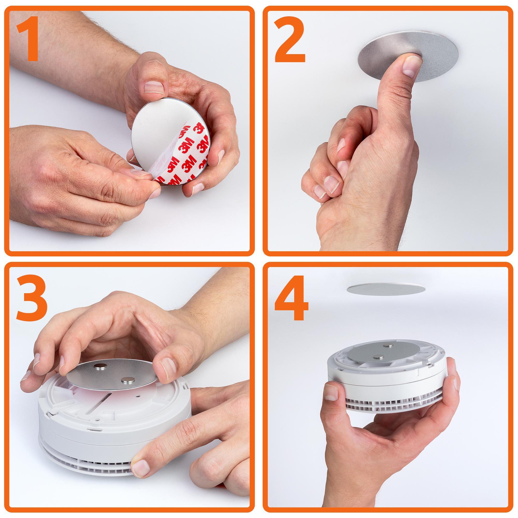 5x rauchmelder befestigung magnet halter ung magnethalter ung magnet pad 70mm ebay. Black Bedroom Furniture Sets. Home Design Ideas